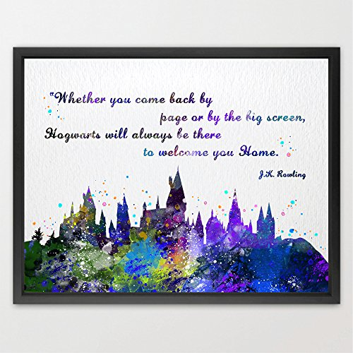 Dignovel Studios 13X19 Hogwarts Castle Quote Harry Potter Watercolor illustration Art Print Friendship Quotes Nursery Kids Art Print Wedding Birthday Gift N382 by Dignovel Studios