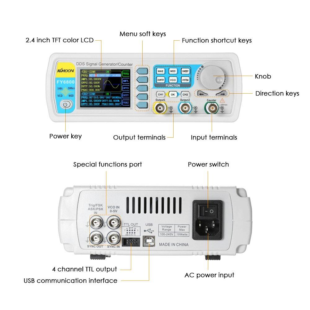 Signal Generator, KKmoon High Precision Digital DDS Dual-channel