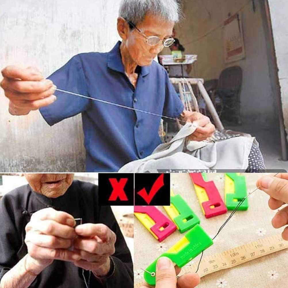 Elderly Easy to Use Automatic Needle Threader Thread Guide Needle Device Solve Needle Threading Problem 6Pcs, Random Color Automatic Needle Threading Device Self Threading Hand Needle