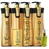 Keratin Cure Professional Brazilian Smoothing Hair Treatment V2 LGEL Gold & Honey Professional Hair Straightening Repair & Shine Blowout Blow-Dry 960ml 5 Piece Kit