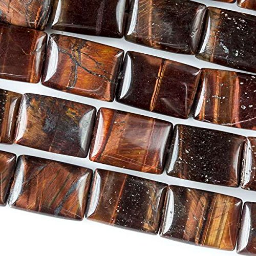 Cherry Blossom Beads Red Tiger Eye Beads 10x14mm Smooth Rectangle - 8 Inch Strand