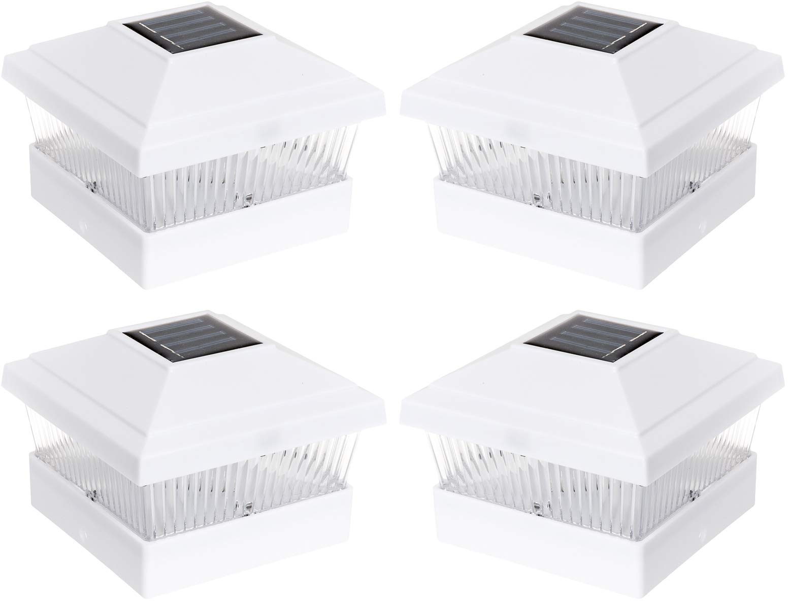 Solar Outdoor Fence Post Cap LED Light for 5 x 5 PVC Posts, White, 4 Pack