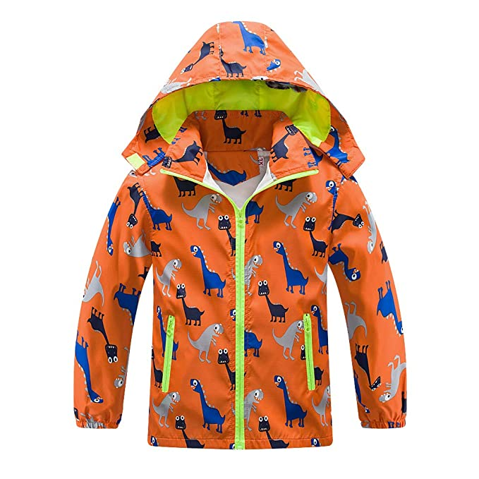 Boys Girls Rain Jacket, Outdoor Lightweight Dinosaur Raincoats Kids Detachable Hooded Jacket with Mesh Liner (Orange, 4T) best kids' raincoats