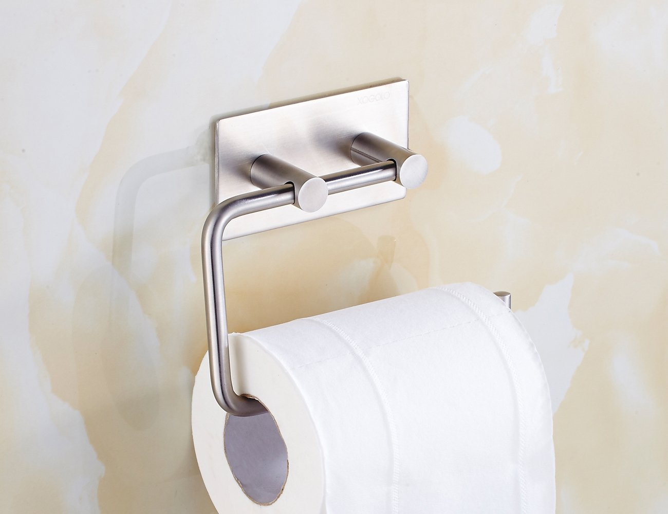 Xogolo Self Adhesive Toilet Paper Holder Wall Mount, SUS 304 Stainless Steel, Kitchen Bathroom Towel Dispenser 3M Stick, Brushed Finished