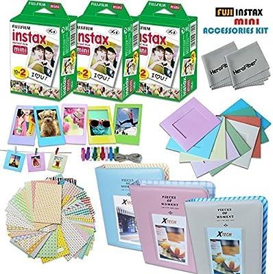 XTECH Fujifilm Instax Mini película accesorios Kit F/Fujifilm Instax Mini 70 Mini 8 8 + 7S 90 25 incluye: 3 x Fujifilm Instax Mini Twin Pack (60 instantánea películas) álbumes de 3 + varios marcos/pegatinas: Amazon.es: Electrónica