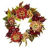 Nearly Natural Dahlia & Mum Wreath, 22'', Orange/Brown