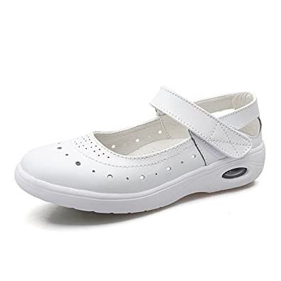 7faf7ffa7 Nomioce Women s Hollow Breathable Air Cushion Shoes Sweet Mary Jane Comfy  Flats Walking Sandals White 2.5