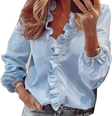 Blusa camisa con volantes con azul cielo XL: Amazon.es: Ropa ...