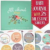 First Year Baby Memory Journal Book + Bonus Monthly Milestone Stickers. Baby shower gift & keepsake to record photos & milestones. Five year scrapbook & picture album for boy & girl babies. (Floral)