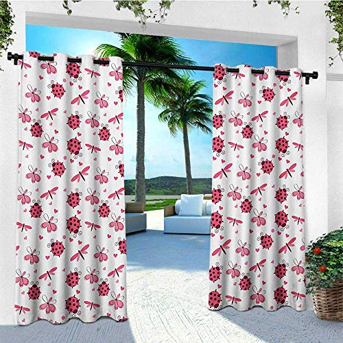 leinuoyi Ladybugs, Sun Zero Outdoor Curtains, Domed Back Round Ladybugs with Hearts Flowers Dragonflies Romantic Wings Pattern, for Privacy W96 x L96 Inch Red White
