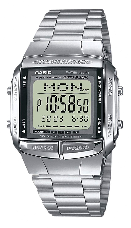 Reloj digital Casio DB-360N para hombres con pulsera de acero inoxidable