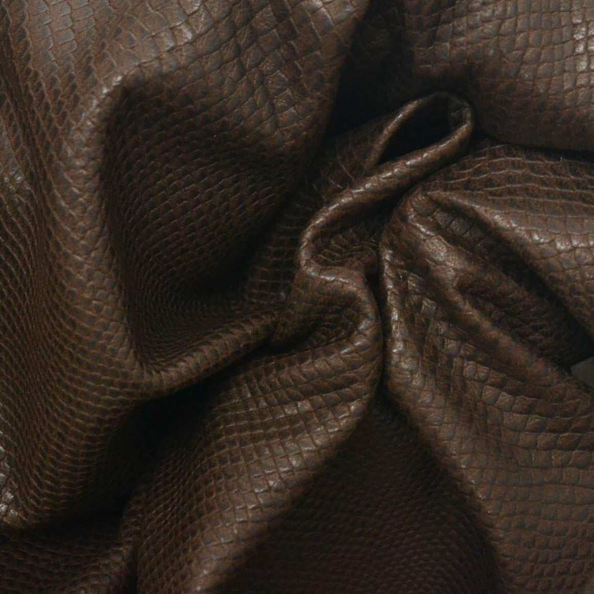 Leather Lamb Hide 6.3 Square Feet Chocolate Brown 1-1 1/2 oz Snake Embossed -1