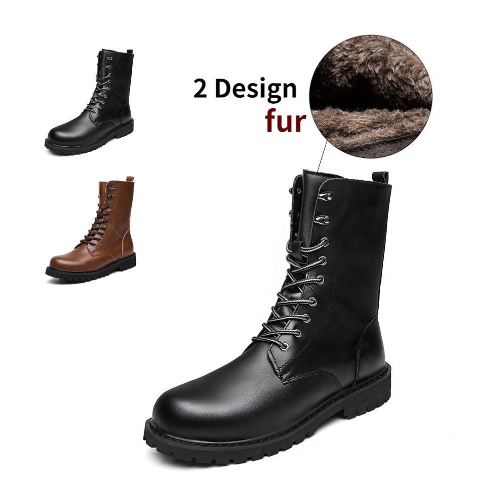 ENLEN&BENNA Men Women Military Tactical Boots Motorcycle Boot Fashion Boots Combat Boots Leather Waterproof Black