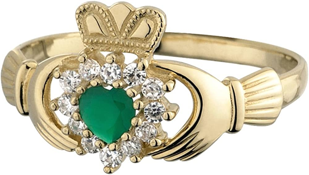 Claddagh Ring 10K Gold CZ & Green Agate Made in Ireland