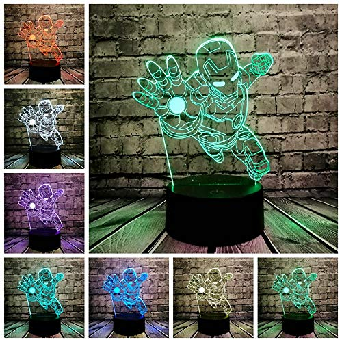 3D Night Lighting Superhero Iron Man Action Figure Multicolor Led Lamp Kid Toy Table Bedroom Bedside Light Gifts