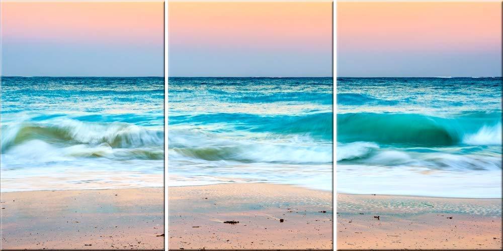 Relaxing Beach Art 3 Piece Panoramic Canvas Wall Art Florida Original Triptych Tropical Ocean Photography Print Handmade Amazon Com