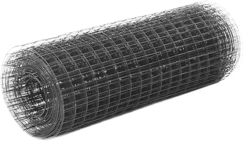 vidaXL Malla Alambre Cuadrada Acero Recubrimiento PVC 10x0.5m Gris Bricolaje