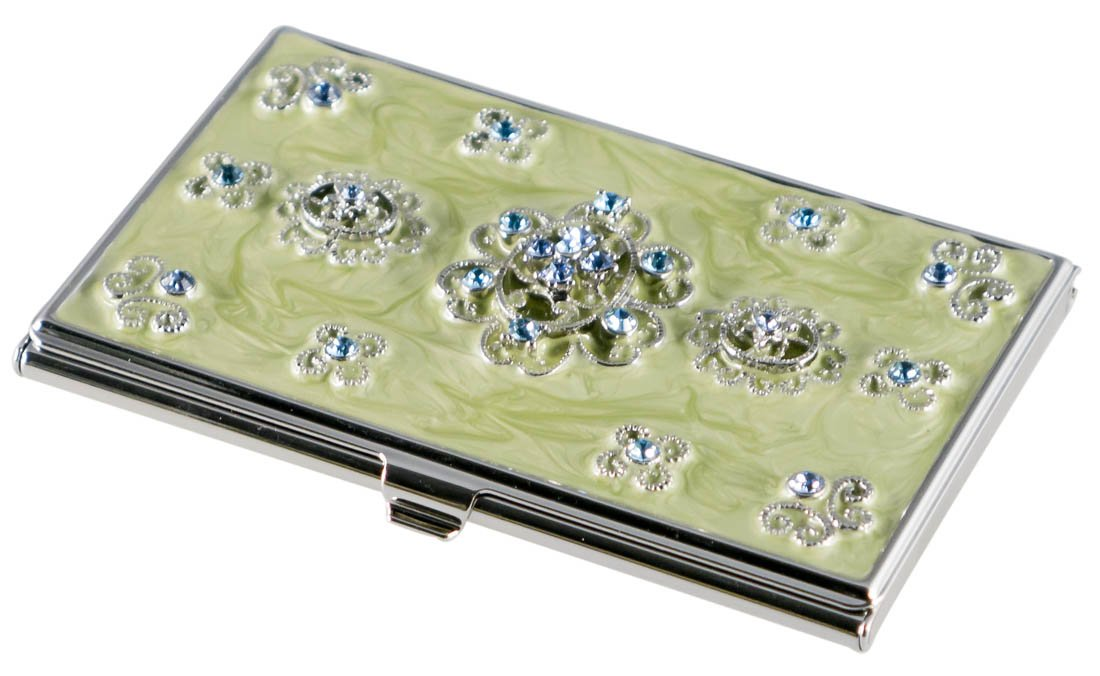 Visol Meridian Light Green Lacquer With Blue Crystals Women's Business Card Case (Set of 6)