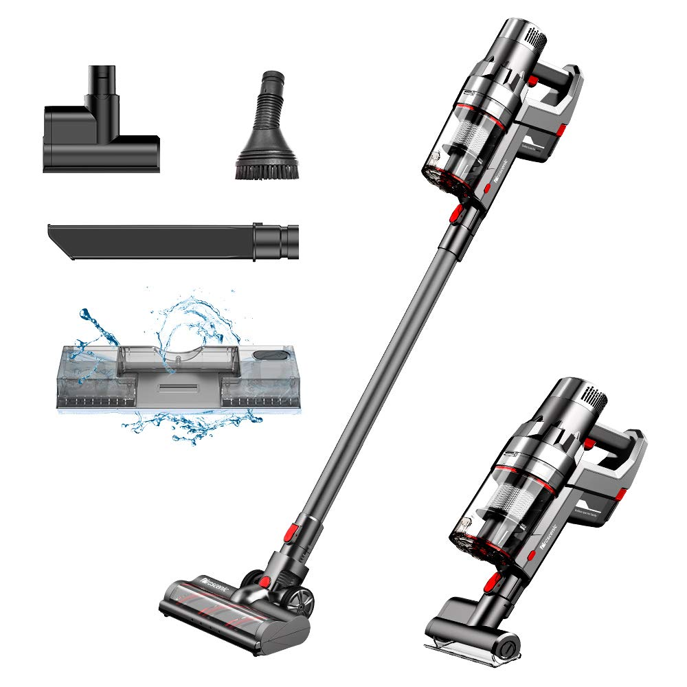 Proscenic P11 Cordless Vacuum Cleaner, with Water Tank,25Kpa, 450W Stick Handheld Vacuum with Mop, Touch Screen, Removable&Rechargeable 2500mAh Battery, Lightweight and Wirelessfor Hard Floor, Carpet