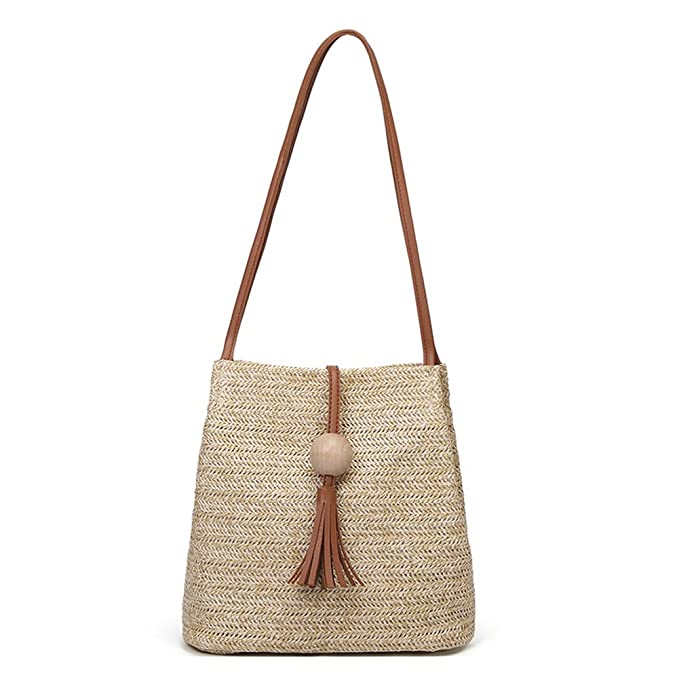 307f40add Image Unavailable. Image not available for. Color: QZUnique Women's Summer  Straw Bucket Tote Bag Straw Woven Handbag Tassel Shoulder Bag