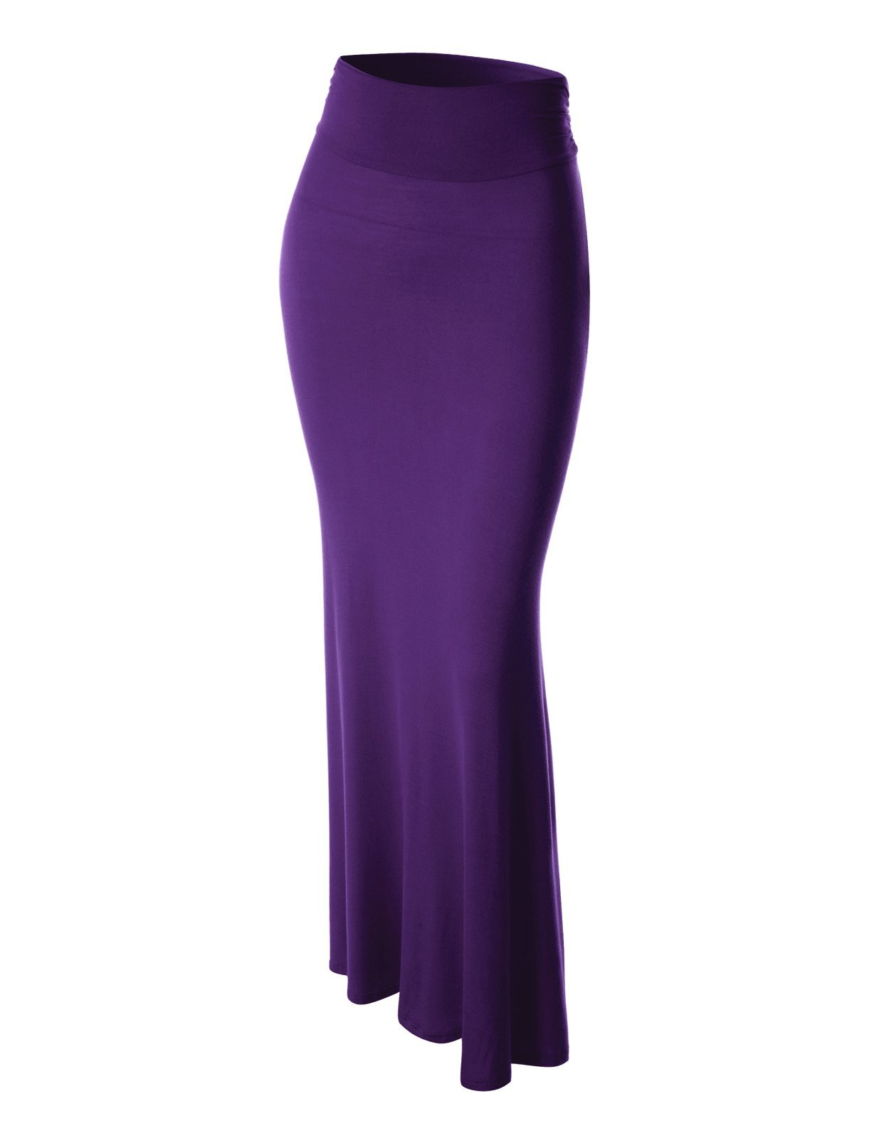 FLATSEVEN Womens High Waisted Flared Maxi Skirt (Made in USA) (WSC101) Purple, M