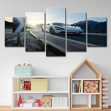 PRINTWL 5 Paneles Lienzo-Impresión sobre lienzoWall Art McLaren 720S Blanco Coche Deportivo decoración del hogar