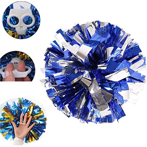 Nicerokaka 1pcs Metallic Foil And Plastic Ring Handheld Cheerleading Poms (Blue and Silver) -