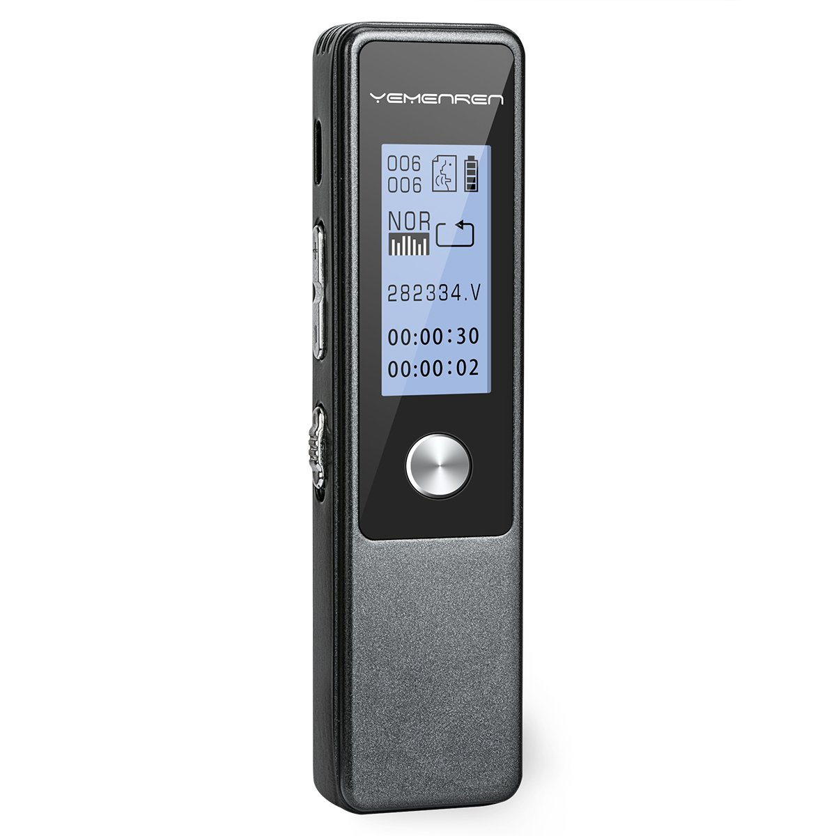Digital Voice Recorder by Yemenren, 8GB 3072Kbps Sound Audio Recorder Dictaphone for Meetings Lectures, USB, Voice Activated, Double Microphone, Metal Casing