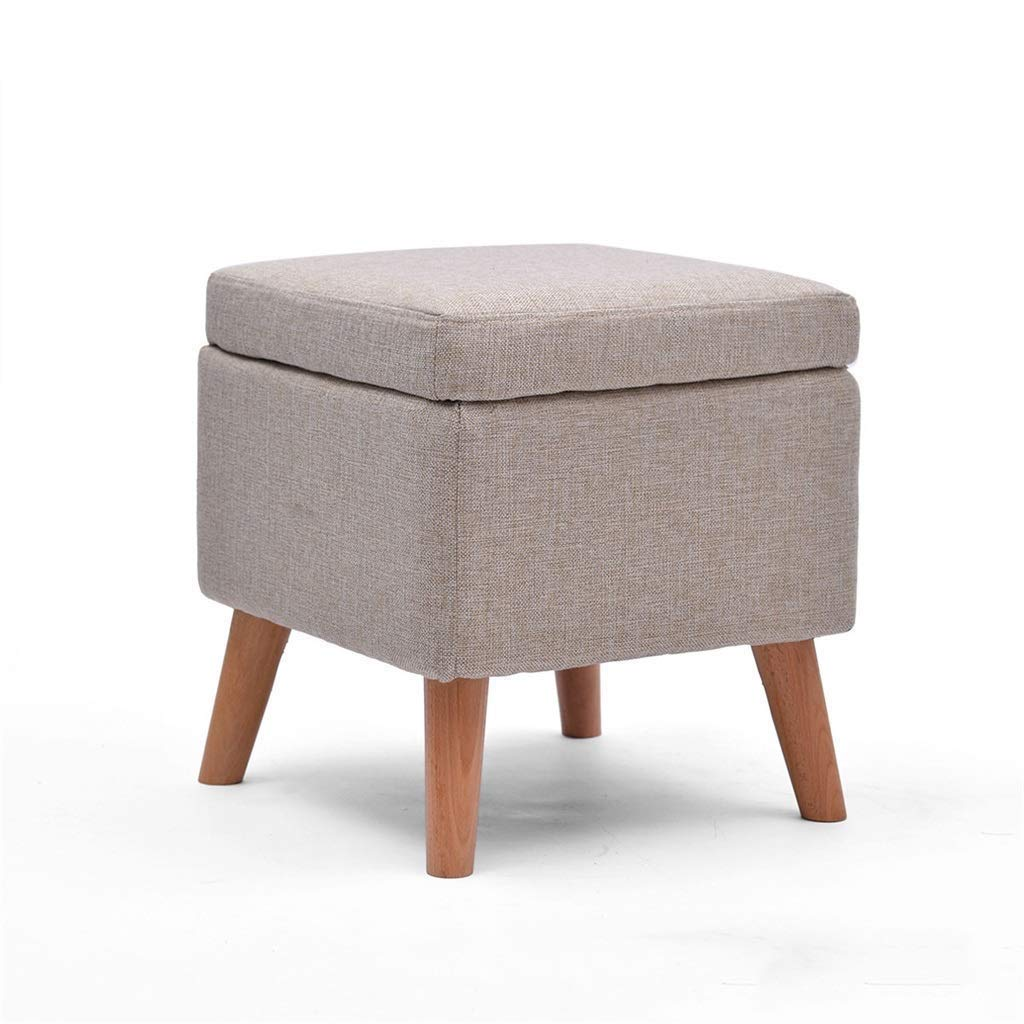 DHINGM Solid Wood Shoe Bench Storage Stool Storage Stool Sofa Stool, Made of Linen Covering, More Fashionable, Easy to Clean, High Resilience Sponge 100% Coverage, Soft and Comfortable by DHINGM