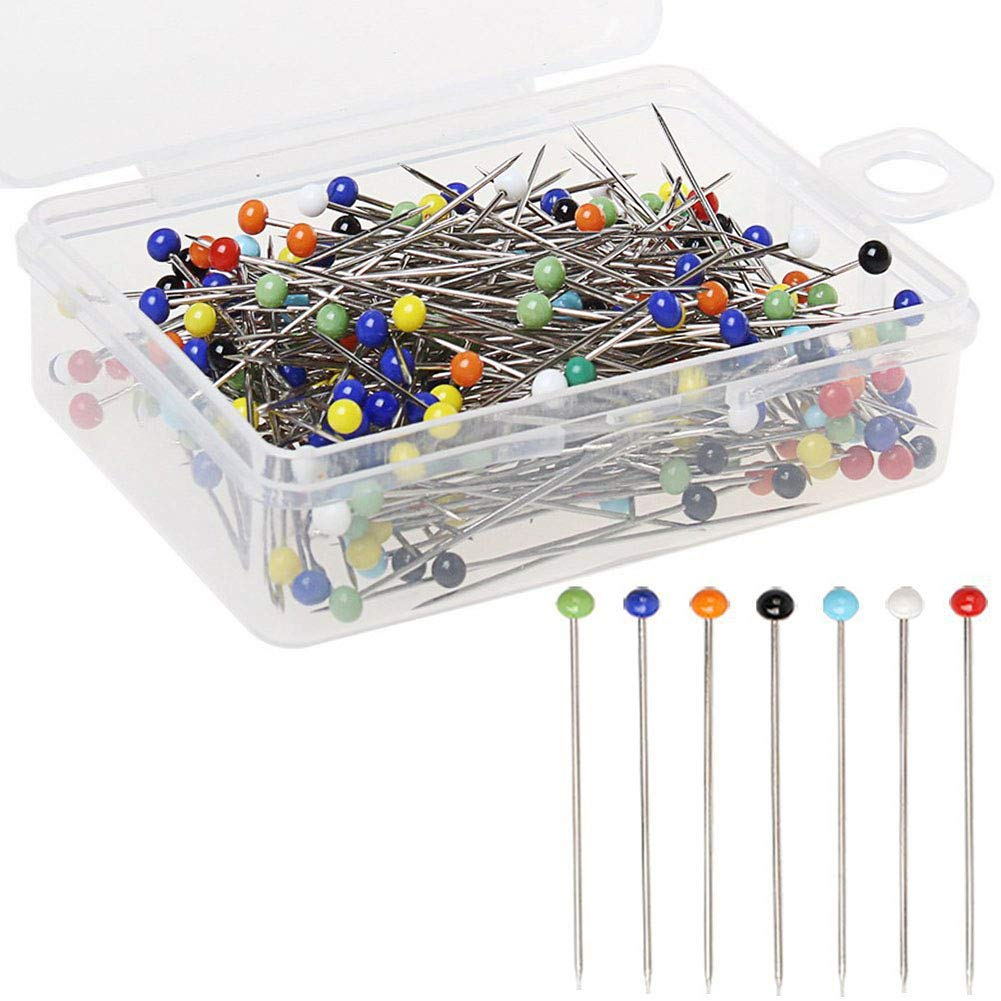 DesertCreations 250 Pieces Straight Sewing Pins 38mm Glass Ball Head Pins for Dressmaking Jewelry Components Flower and Clothing Decoration Multicolour