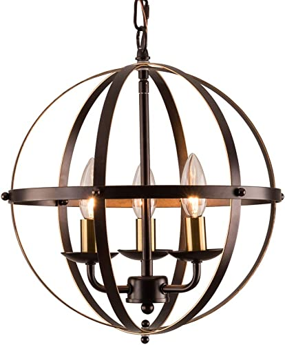 MO OK Industrial Globe Chandeliers Bronze Metal Chandelier Lighting with 3 Light