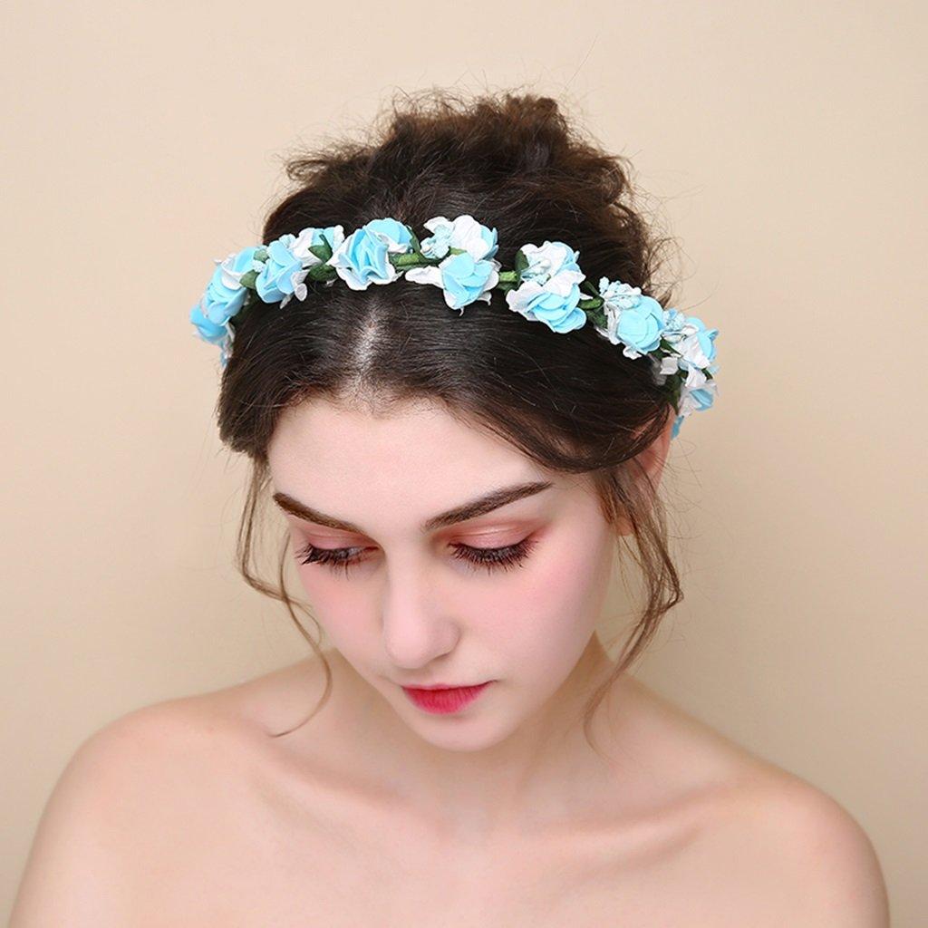 Wreath Flower, Headband Flower Garland Handmade Wedding Bride Party Ribbon Headband Wristband Hairband -Green (Color : Blue)
