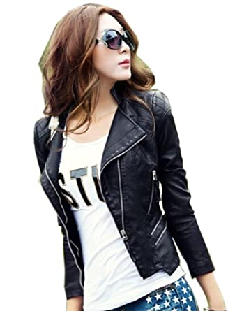 Locomotive Women Short Paragraph Leather Jacket at Amazon Women&39s