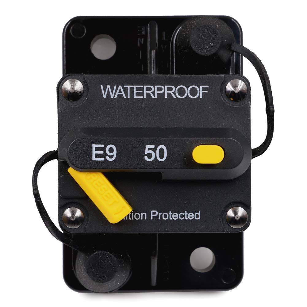 T Tocas Inversor de fusibles a prueba de agua inversor con bot/ón de reinicio manual 12V-32Vdc 20A