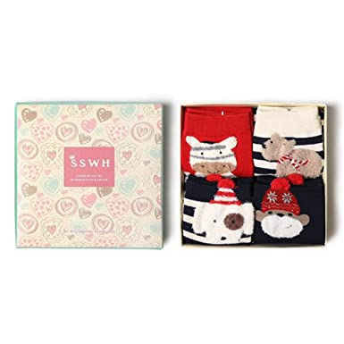 HOTER 4 Pairs Ladies Womens Cotton Socks Holiday Toddler Stocking Set  Novelty Gift Box Christmas Gift  Amazon.co.uk  Clothing 2305633de