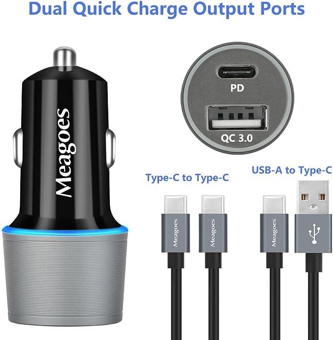 Amazon.com: meagoes USB rápido PD Cargador de coche para ...