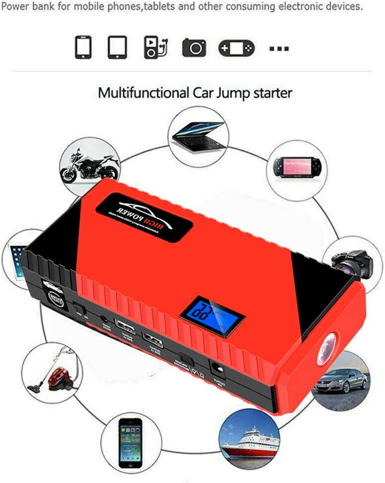 JiuRong 20000mAh Car Jump Starter with USB Charge 12V Portable Auto Battery Booster with LED Light