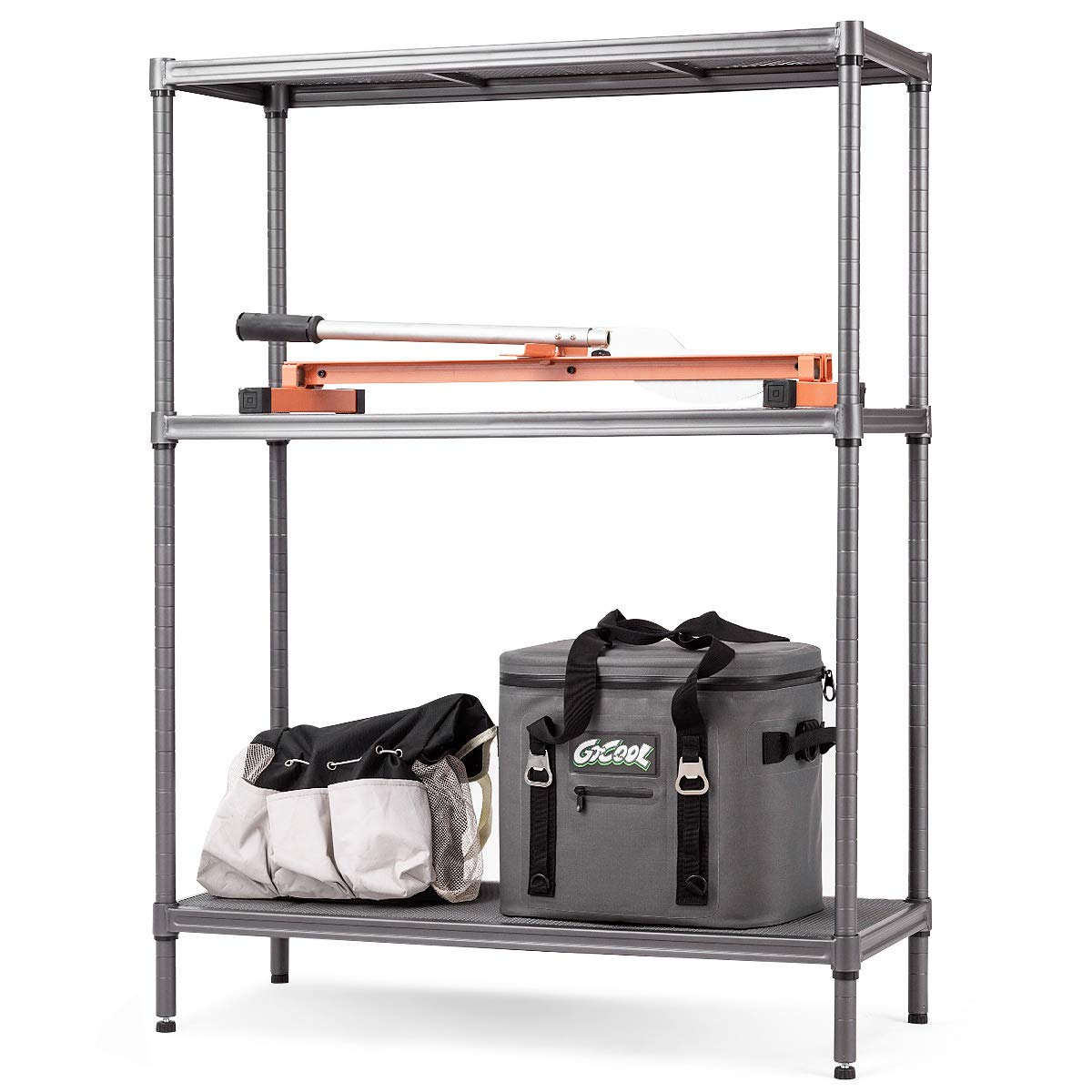 TANGKULA Storage Shelves 3-Tier Space-Saving Storage Rack Heavy Duty Metal Shelf Organizer High Weight Capacity Multi-Use Shelving Unit for Home Office Dormitory Garage (47.5'' H) by Tangkula