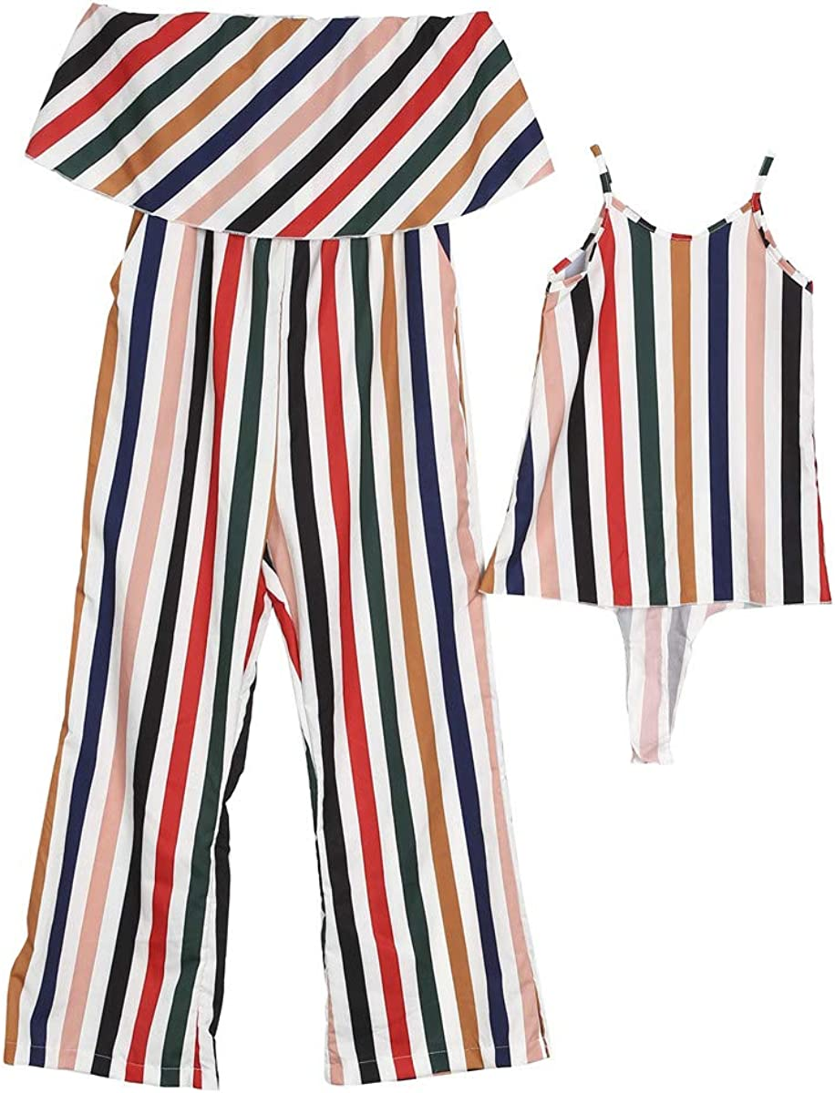 kaiCran Family Matching Mommy and Me Long Sleeve Fashion Clothes Mommy Off-Shoulder Jumpsuits /& Baby Girls Stripe Dress