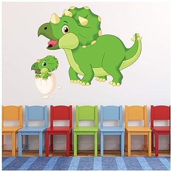 Azutura Gruner Triceratops Dinosaurier Wandtattoo Dino Wand Sticker