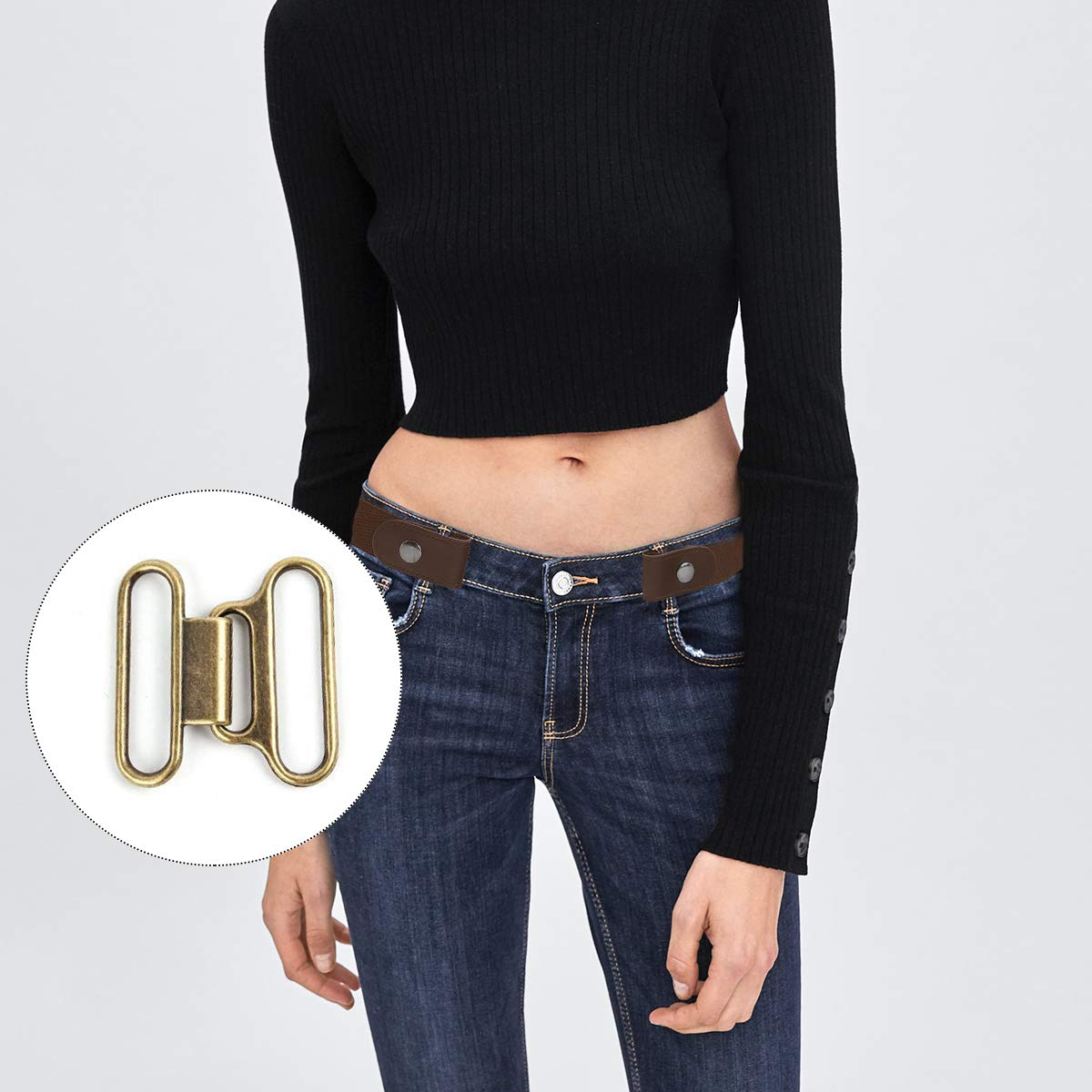 ... Pantalon Jeans Ceinture élastique sans boucle confortable Ceintures  taille. Agrandir l image 02ba0a028a2