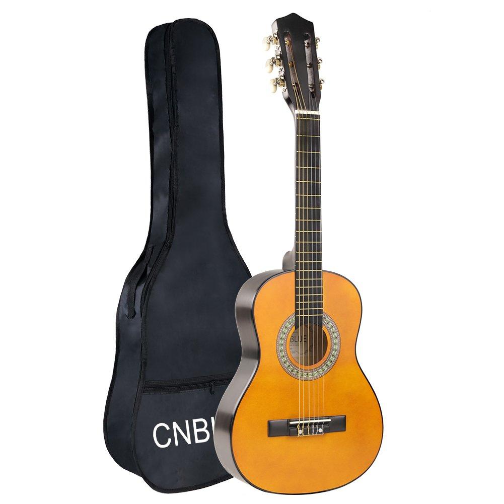 Kid Beginner Guitar Classical Guitar Acoustic Guitar 1/2 Half Size 30 inch Guitar for Boy Girl Guitar Lemon Yellow by CNBLUE