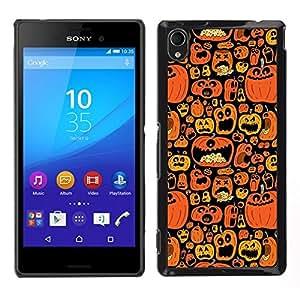 // PHONE CASE GIFT // Duro Estuche protector PC Cáscara Plástico Carcasa Funda Hard Protective Case for Sony Xperia M4 Aqua / Orange Pumpkin Black Holiday /