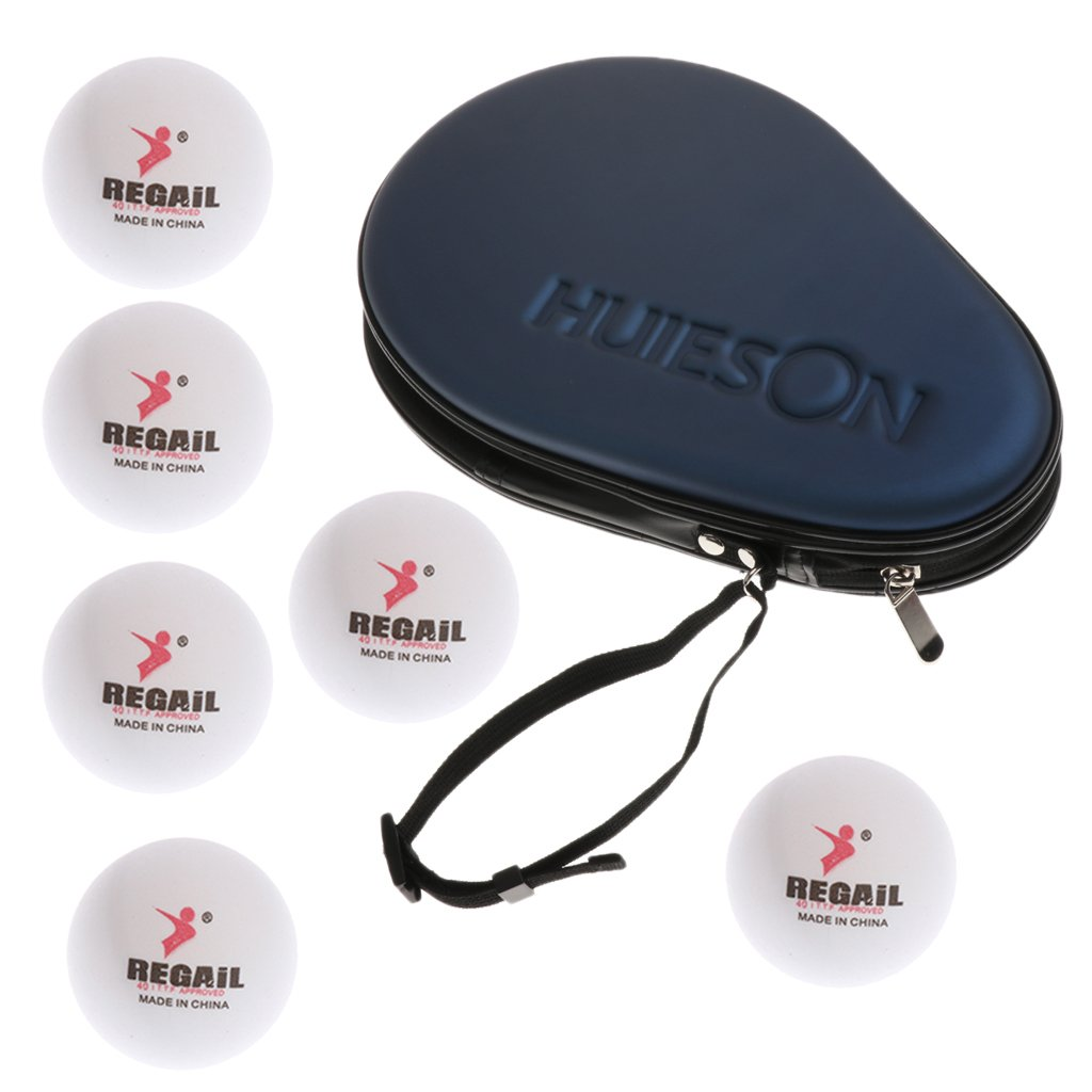 Sharplace Sac Cas Transport pour 2 Raquettes Tennis de Table/Ping-Pong É tanche Antichoc avec 6pcs 40mm Balles de Tennis de Table/Ping-Pong