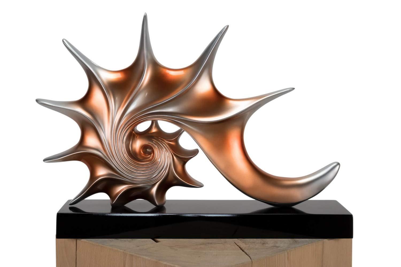 KunstLoft® Skulptur 'Unter dem Ozean' 43x6x31cm | Moderne Kunststein-Figur | Modern Muschel Braun Deko Silber Kupfer | Statue als Unikat - Handgefertigtes Kunstwerk | Schöne Wohnzimmer-Dekoration