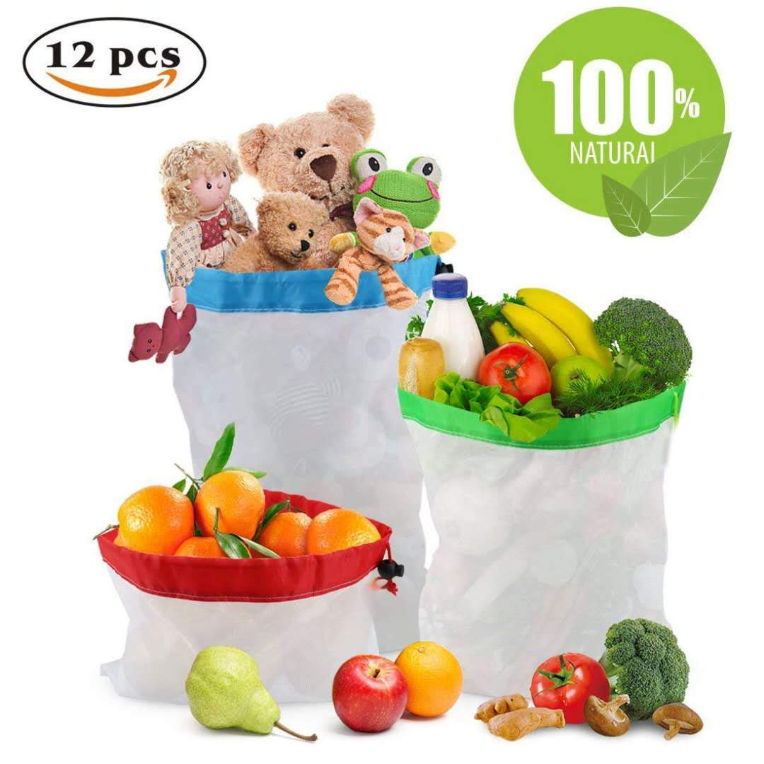 Amazon.com: 12 bolsas de malla reutilizables para productos ...