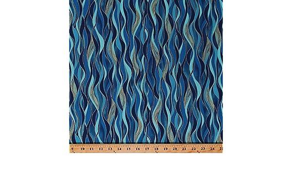 Benartex Kanvas Dance of the Dragonfly 8503M 84 Azure Blue Waves BTY Cotton Fab
