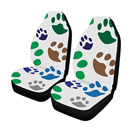 InterestPrint Paw Print Traces Of Cat Front Car Seat Covers Set 2 Universal Fit