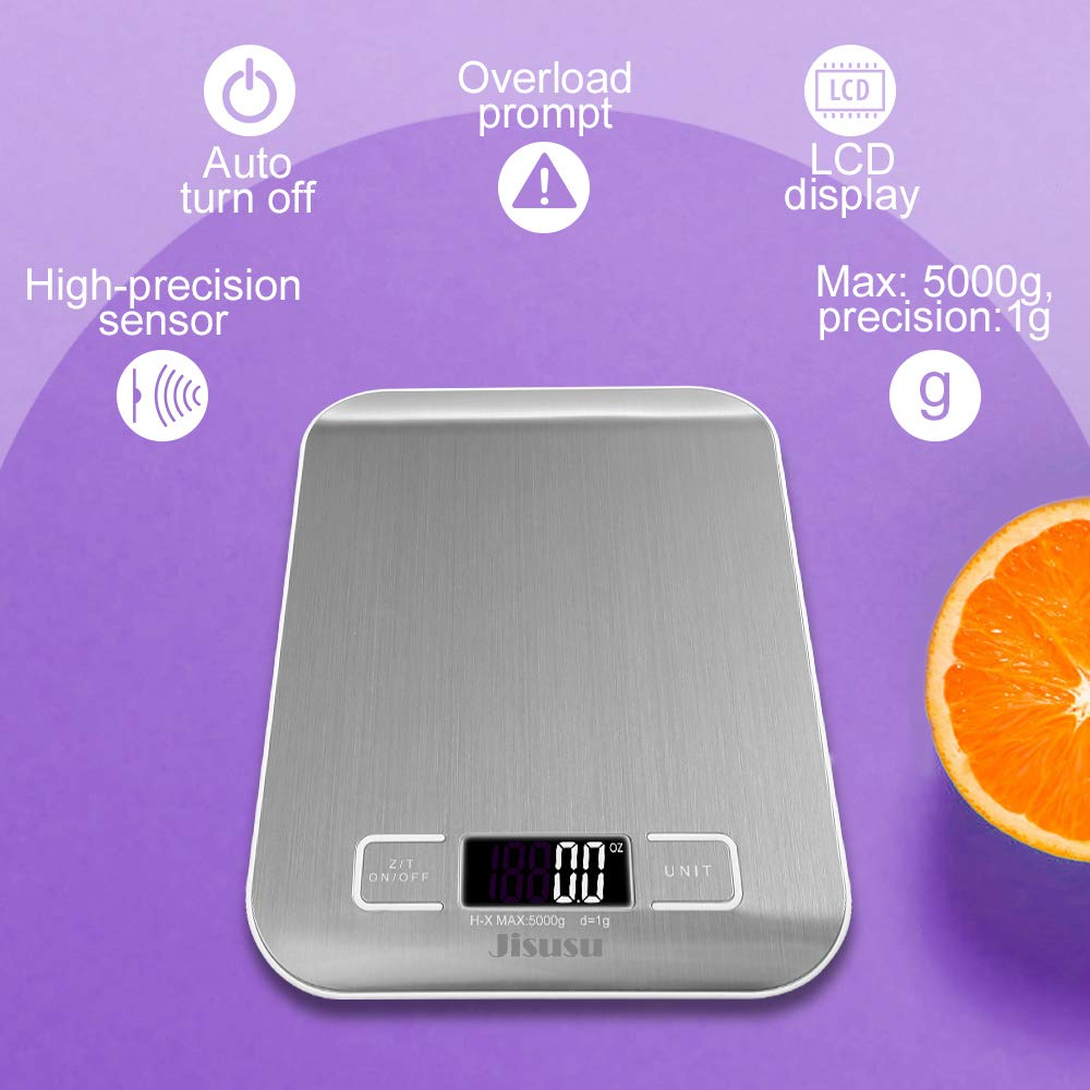 JISUSU Báscula de Cocina Digital pequeño de precisión en hasta 1 G/5kg Peso máximo: Digital Báscula Báscula electrónica con Pantalla LCD para Hornear ...