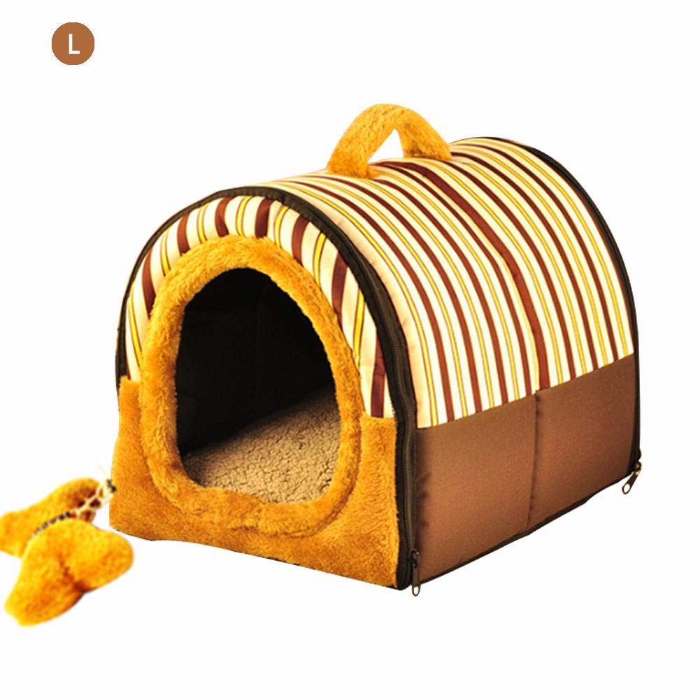 Coffee L Coffee L PER Pet Bed House Non-Slip Dogs Nest House Cat Cushions Nest Sofa Bed House Soft and Comfortable Pet's House with Detachable Dome and Bone-shaped Pad